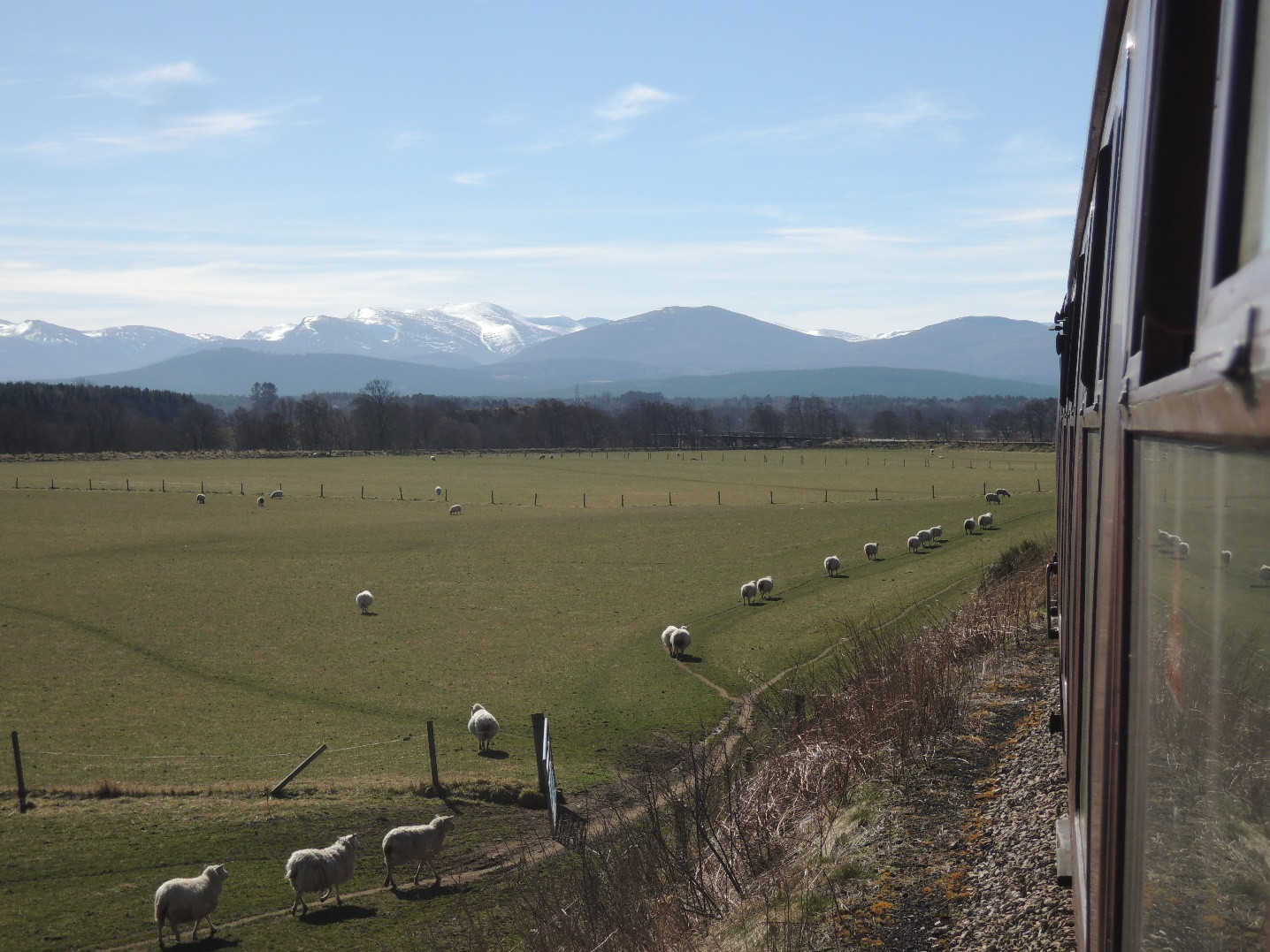 The Cairngorms from the Strathspey Railway. Photo by Chris Crocker.